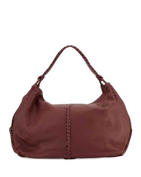 Bottega Veneta Cervo Large Leather Shoulder Bag, Bordeaux