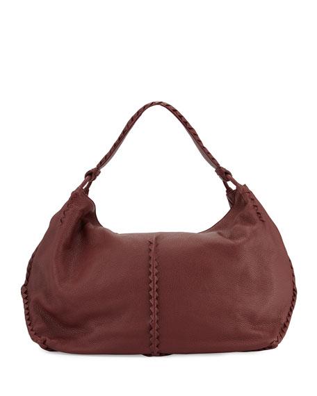 Cervo Large Leather Shoulder Bag, Bordeaux