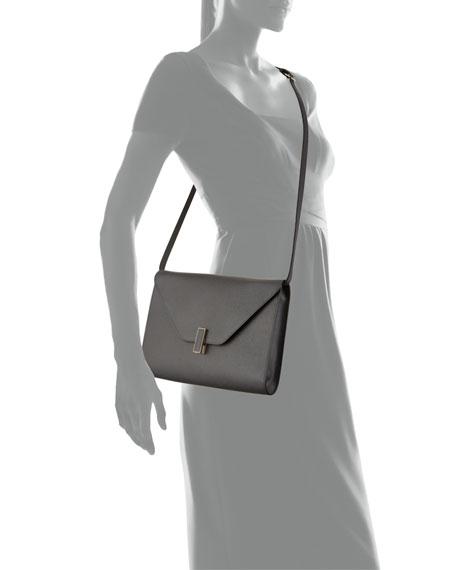 Iside Leather Tablet Shoulder Bag, Dark Gray