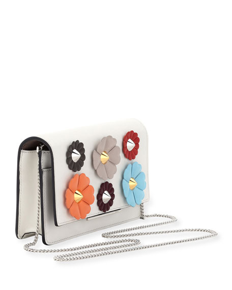 Floral-Studded Wallet-on-a-Chain, White Pattern