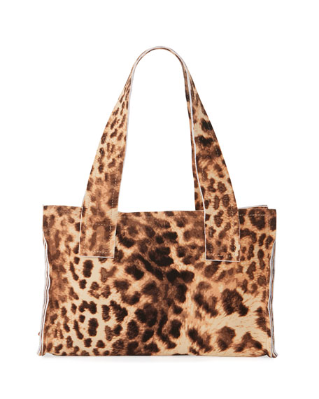 Norma Kamali Caramel Leopard Print Handle Clutch Bag