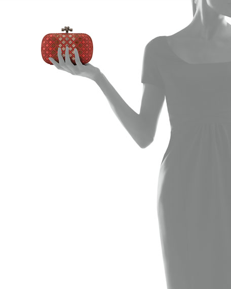 Small Knot Snakeskin Box Clutch Bag