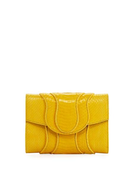 Jolie Snakeskin Flap Clutch Bag, Yellow