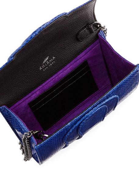 Jolie Snakeskin Flap Clutch Bag, Blue
