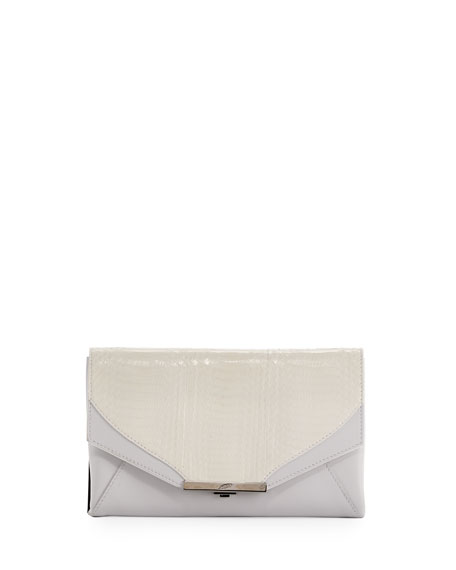 Khirma Roya Leather & Snakeskin Envelope Clutch Bag,