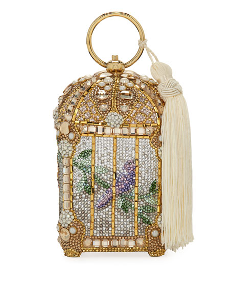 Judith Leiber Couture Birdcage Crystal Beaded Tassel Clutch