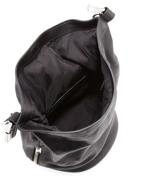 Roxy Mini Leather Bucket Bag, Black