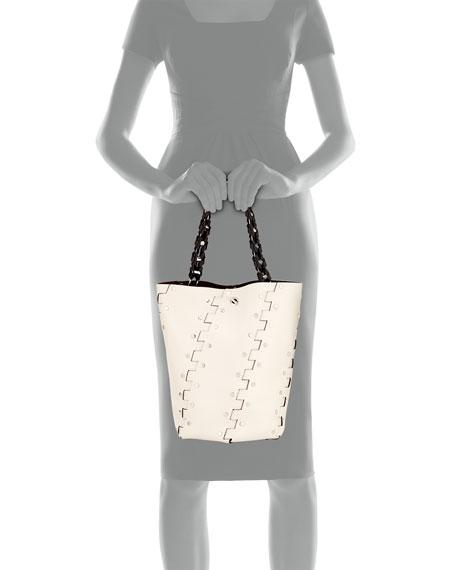 Hex Studded Medium Bucket Bag, Black