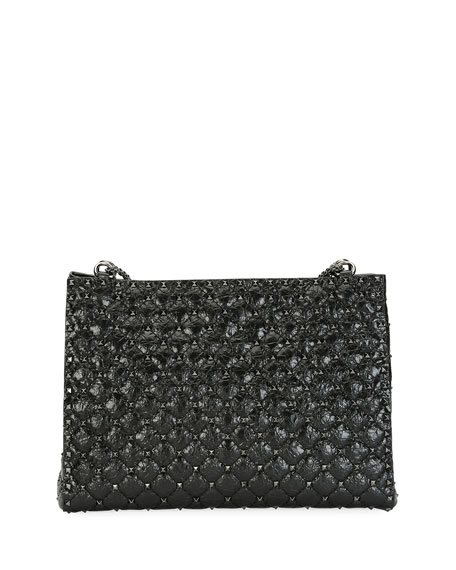Rockstud Spike Crinkled Shoulder Bag, Black