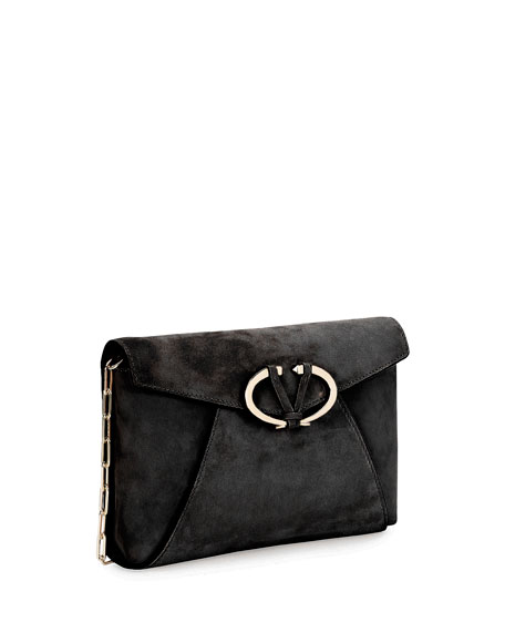 V Rivet Suede Clutch Bag, Black