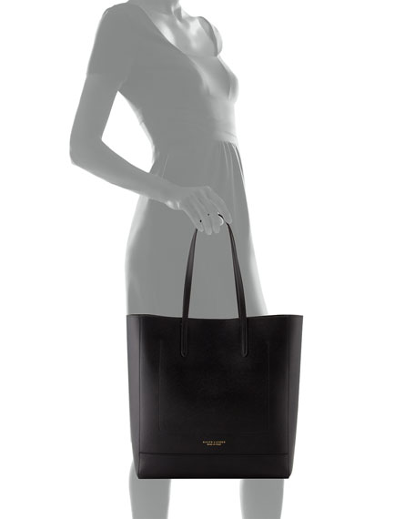 Modern Leather Tote Bag, Black