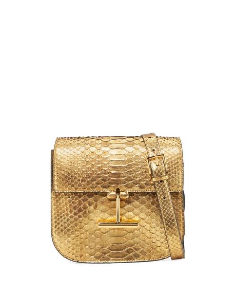 Tara Small T Clasp Python Shoulder Bag