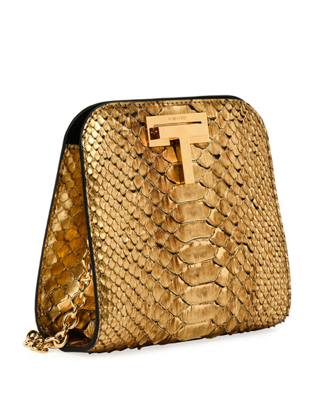 Cosmo Python Small T Lock Shoulder Bag, Gold
