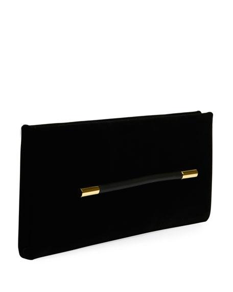 Ava Velvet Pochette Clutch Bag, Black