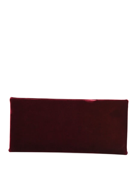 Ava Pochette Velvet Bag w/ Smooth Leather Handle, Red/Black