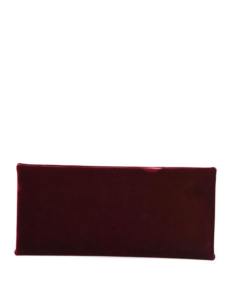 Ava Pochette Velvet Bag w/ Smooth Leather Handle, Red/Black