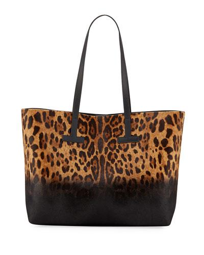Leopard-Print Calf Hair T Tote Bag