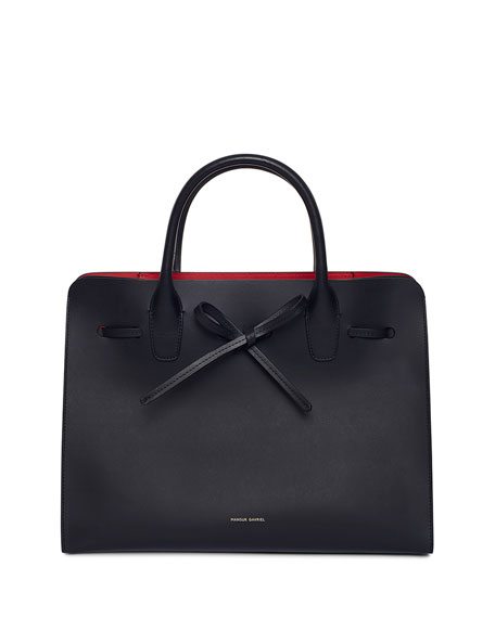 Mansur Gavriel Vegetable-Tanned Leather Sun Tote Bag, Black/Red