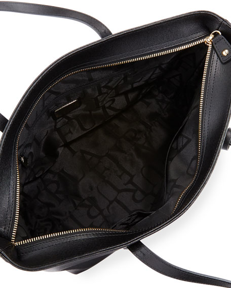 Daisy Medium Saffiano Tote Bag, Black