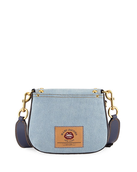 Nomad Small Studded Saddle Bag, Denim