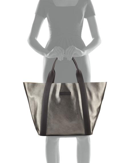 Reversible Metallic Tote Bag, Medium Green