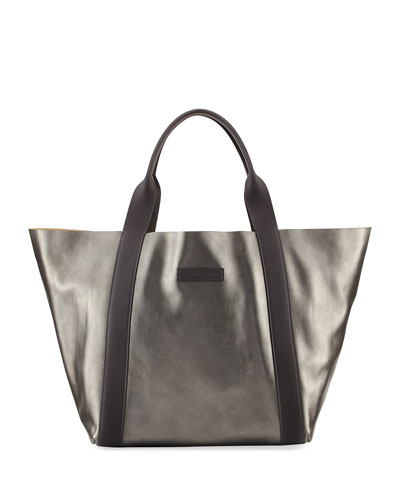 Reversible Metallic Tote Bag, Medium Green