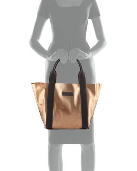 Small Metallic Leather Top-Handle Bag, Green