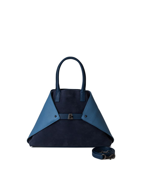 Akris Ai Small Colorblock Top-Handle Bag, Blue Pattern