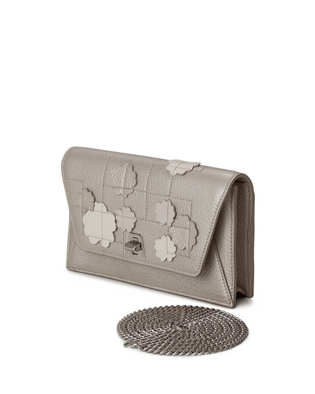 Anouk Buttercup-Embellished Envelope Clutch Bag, Blue