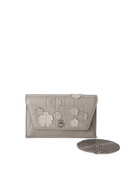 Akris Anouk Buttercup-Embellished Envelope Clutch Bag, Blue