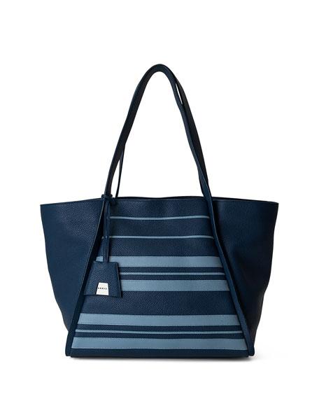 Akris Alex Medium Striped Leather Tote Bag, Blue
