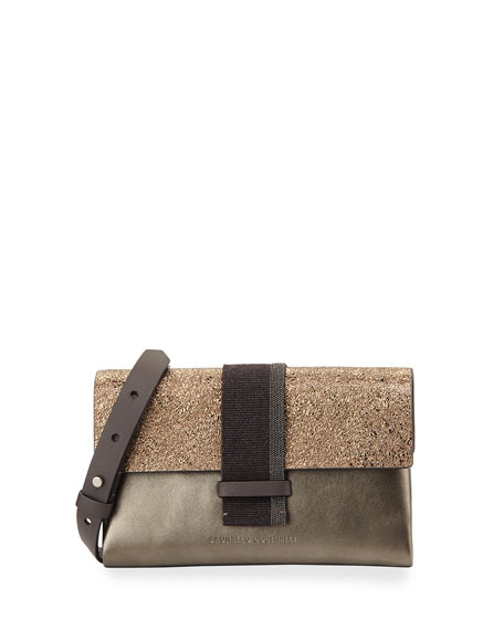 Brunello Cucinelli Metallic Monili-Beaded Crossbody Bag, Bronze