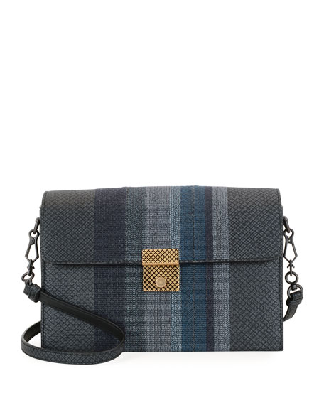 Striped Karung Shoulder Bag, Medium Blue