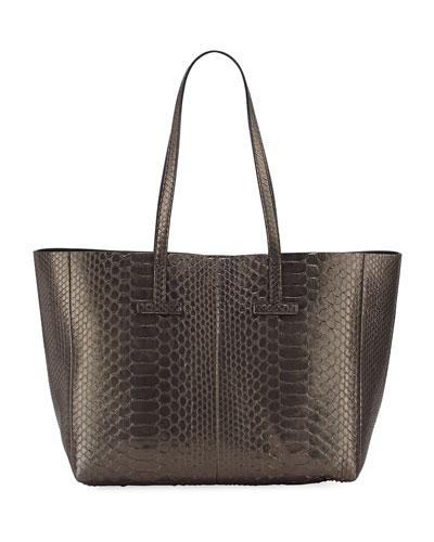 Small Metallic Python T Tote Bag