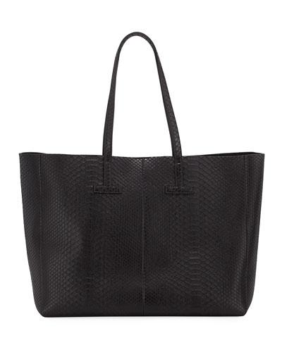 Large Python T Tote Bag  Black