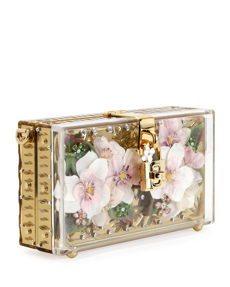 Floral Inlay Dolce Box Bag, Golden