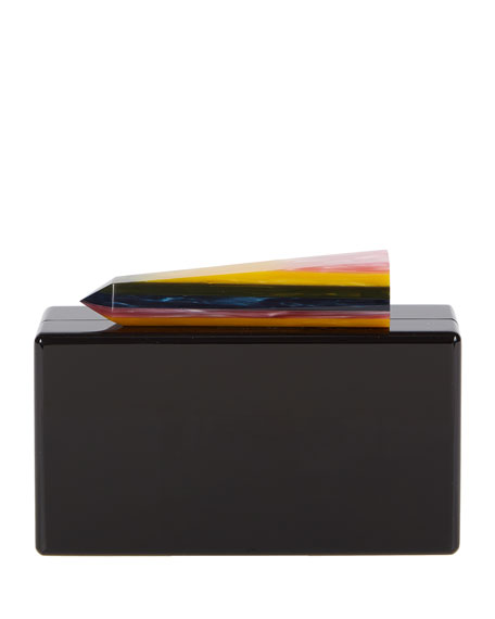 Avery Acrylic Clutch Bag, Black