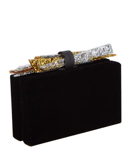 Wolf Shard Velvet Clutch Bag, Black
