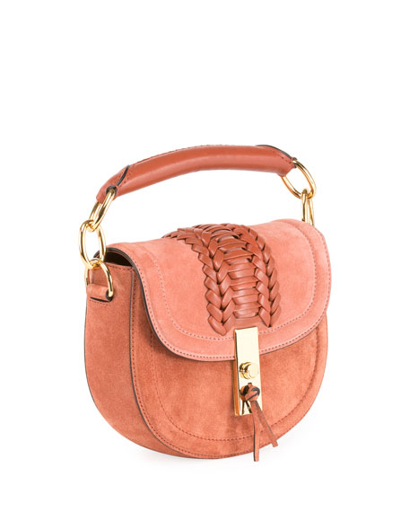 Mini Braided Top-Handle Saddle Bag, Pink