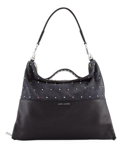 The Grip Embellished Shoulder Bag, Black