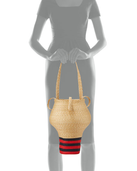 Linda's Shop Bag, Beige/Navy/Red