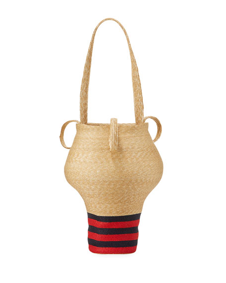 Linda's Shop Bag, Beige/Navy/Red