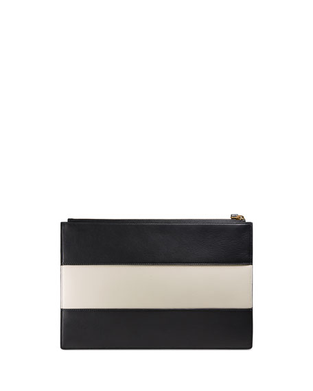 Colorblock Fly Zip Wristlet Pouch Bag, Black/White