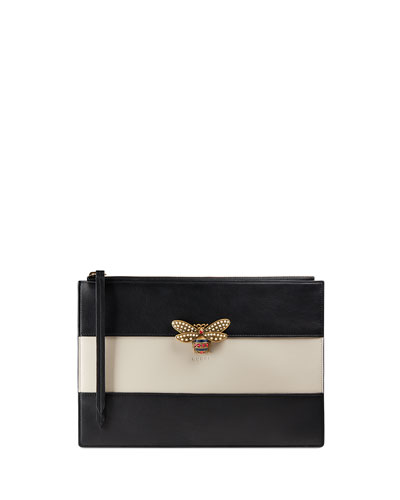 Colorblock Fly Zip Wristlet Pouch Bag, Black/White