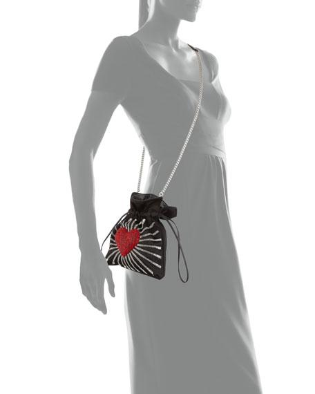 Trilly Heart Satin Drawstring Shoulder Bag