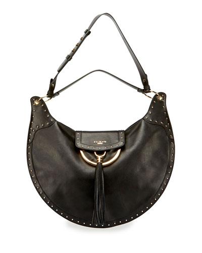 Domaine Studded Leather Shoulder Bag, Black