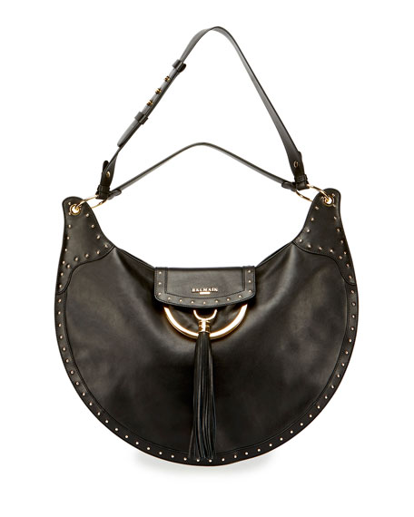 Domaine Studded Leather Shoulder Bag, Black