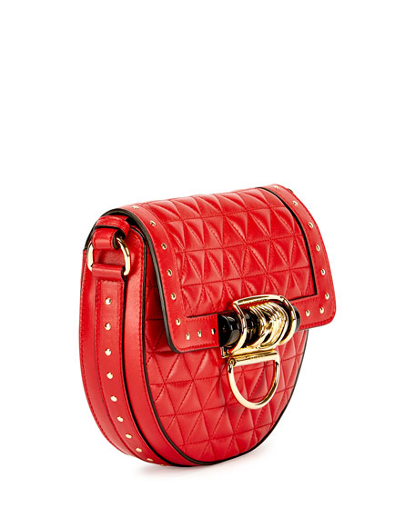44-18 Quilted Napa Tassel Saddle Bag, Red