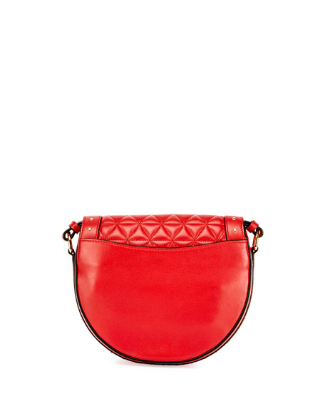 44-18 Quilted Napa Tassel Saddle Bag, Red