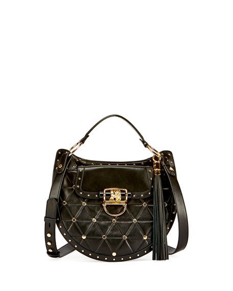 44-30 Quilted Lambskin Saddle Bag, Black